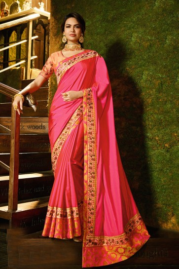 Pretty Pink Silk Fabric Border Work And Lace Work Designer Saree And Blouse