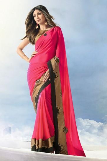 Shilpa Shetty Silk Fabric Weaving Work Designer Pink Saree With Border Work Blouse