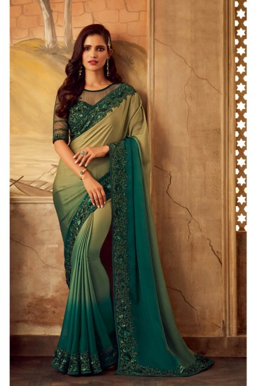 Gorgeous Green And Beige Border Work Designer Silk Fabric Saree And Blouse