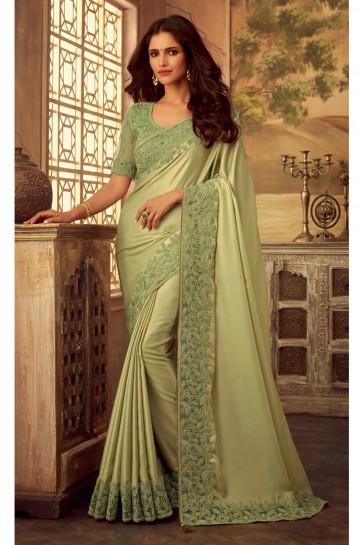 Pista Border Work Silk Fabric Designer Saree And Blouse