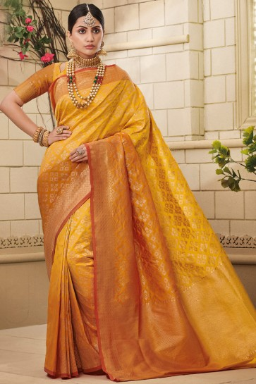 Dazzling Silk Fabric Yellow Weaving Work And Jaquard Work Designer Saree And Blouse