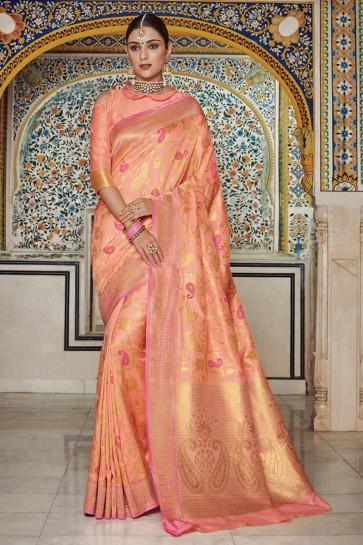 Silk Fabric Peach Weaving Work And Jaquard Work Designer Saree And Blouse