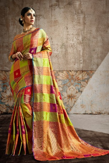 Silk Fabric Multicolor Weaving Work And Jaquard Work Designer Saree And Blouse