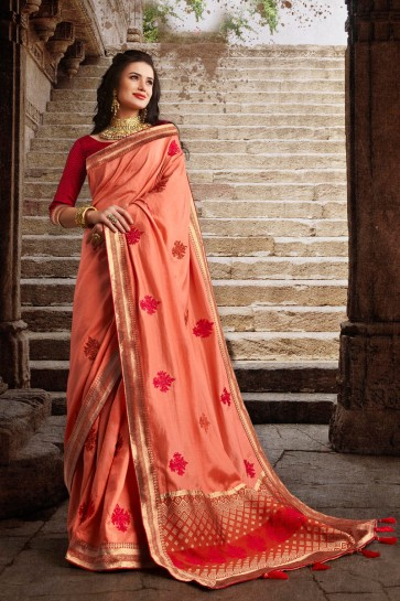 Party Wear Peach Weaving Work And Embroidered Designer Silk Fabric Saree And Blouse