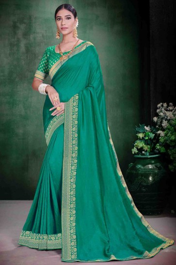 Weaving Work And Lace Work Designer Silk Fabric Green Saree And Blouse