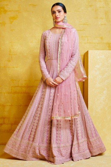 Abaya Style Georgette Light Pink Embroidery Work Anarkali Suit With Net Dupatta