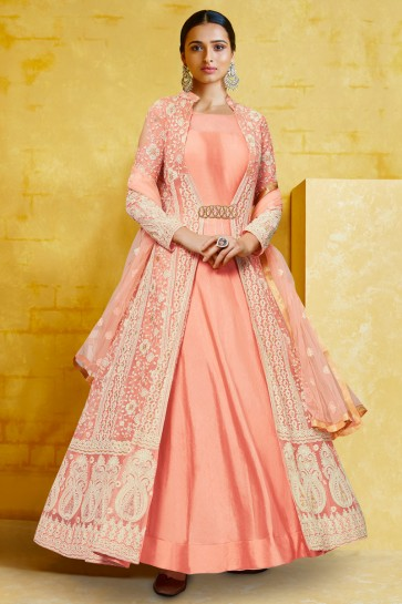 Georgette Fabric Embroidery Work Peach Abaya Style Anarkali Suit And Santoon Bottom