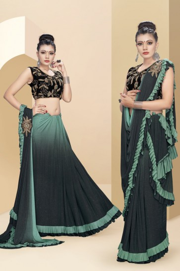 Green Sequins And Thread Work Lycra Fabric Flare Designer Saree With Art Silk Blouse