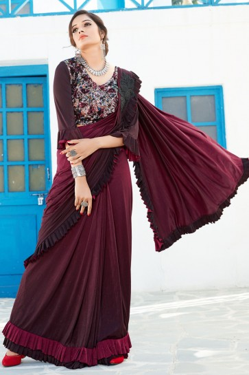 Maroon Sequins And Thread Work Lycra Fabric Designer Flare Saree And Blouse