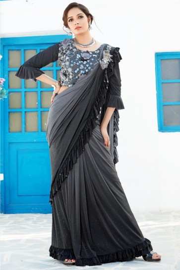 Classic Lycra Fabric Black And Grey Thread And Sequins Work Flare Saree And Blouse