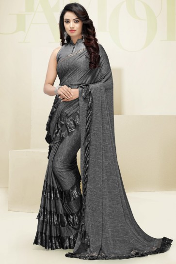 Imported Fabric Grey Flare Work Designer Solid Saree And Blouse
