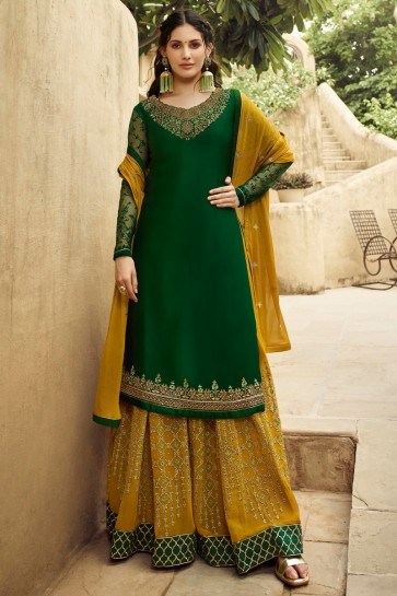 Amyra Dastur Embroidery And Stone Work Green Georgette Satin Sharara Plazzo Suit With Chiffon Dupatta