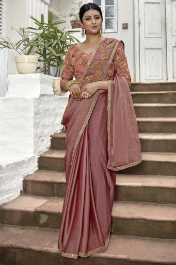 Wine Chinon Chiffon Border And Lace Work Designer Saree With Embroidery Beads Work Blouse