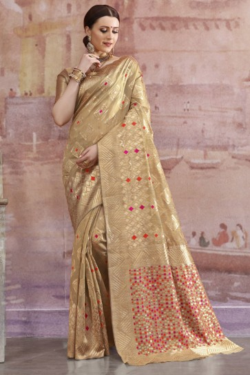 Pleasing Golden Zari And Weaving Work Cotton Saree And Blouse