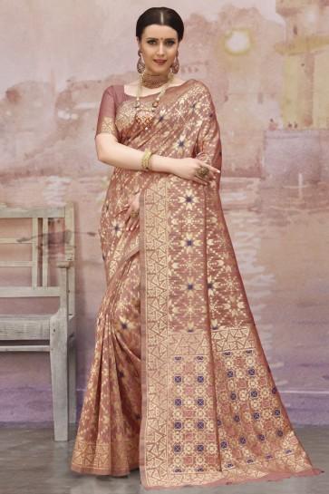 Coffee Zari And Weaving Work Designer Cotton Fabric Saree And Blouse