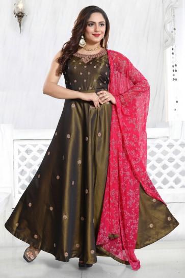 Hand Work Brown Satin Fabric Anarkali Suit Chiffon Dupatta