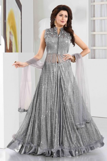 Grey Imported Hand Work Abaya Style Anarkali Suit With Net Dupatta