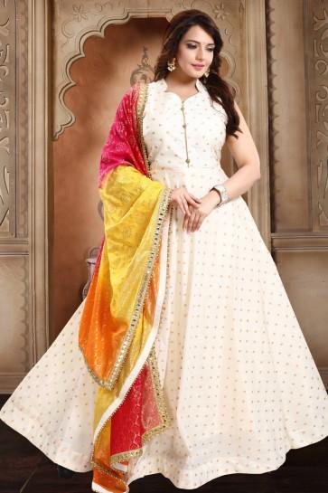 Taffeta Designer Off White Hand Work Anarkali Suit With Brocade Dupatta