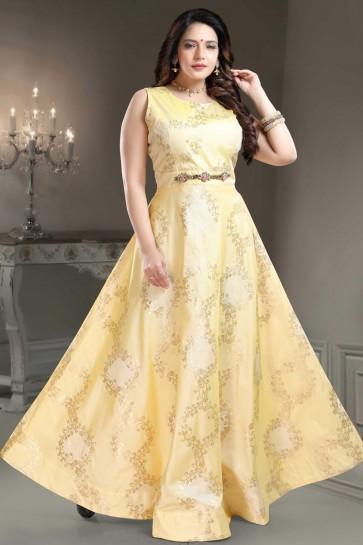 Designer Yellow Hand Work Brocade Abaya Style Anarkali Suit