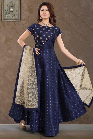 Navy Blue Silk Hand Work Abaya Style Anarkali Suit With Net Dupatta