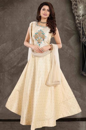 Hand Work Cream Silk Fabric Anarkali Suit With Net Dupatta