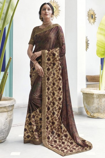 Coffee Silk Fabric Printed And Embroidered Designer Saree And Blouse