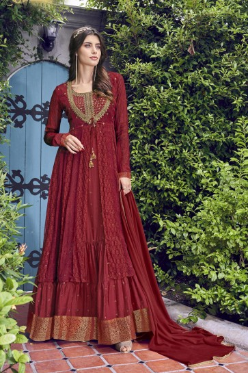 Designer Red Embroidered Chiffon Plazzo Suit With Chiffon Dupatta