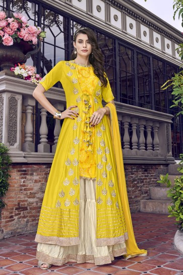 Yellow Satin And Silk Embroidered Plazzo Suit With Chiffon Dupatta