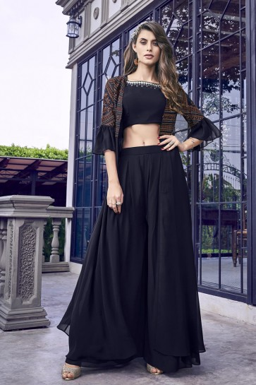 Embroidered Black Georgette Satin Fabric Plazzo Suit Chiffon Dupatta