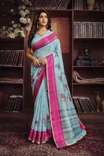 Cotton Fabric Sky Blue Digital Print Designer Saree And Blouse