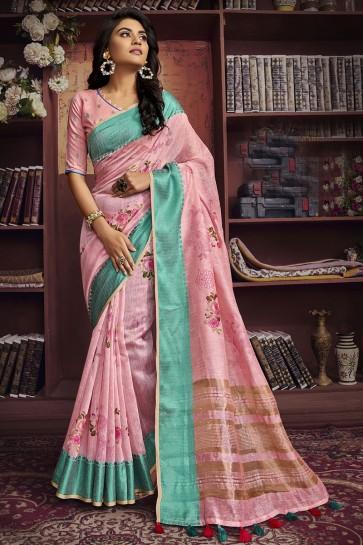 Light Pink Cotton Fabric Digital Print Designer Saree And Blouse