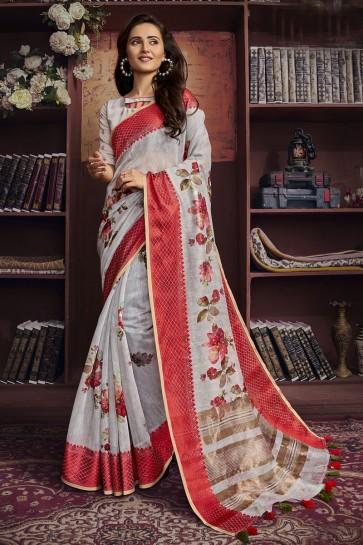 Stunning Grey Cotton Fabric Designer Digital Print Saree And Blouse