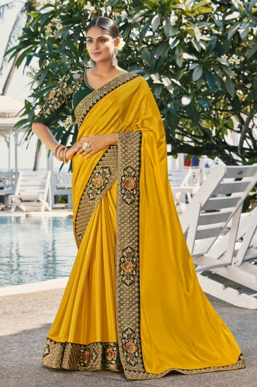 Embroidered And Stone Work Yellow Silk And Georgette Satin Fabric Saree And Blouse