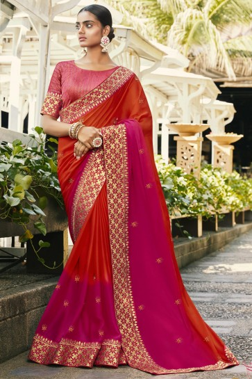 Multi Color Silk And Georgette Satin Fabric Embroidered And Stone Work Designer Saree And Blouse