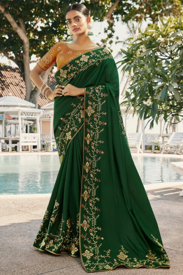 Silk And Georgette Satin Fabric Embroidered And Stone Work Designer Green Lovely Saree And Blouse