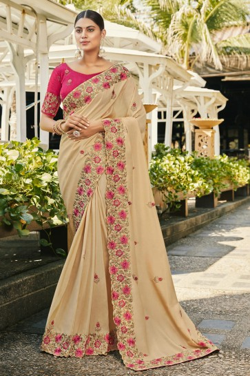 Beige Silk And Georgette Satin Fabric Embroidered And Stone Work Designer Saree And Blouse