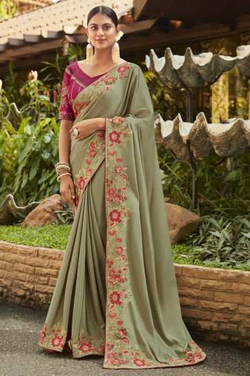 Optimum Embroidered And Stone Work Pista Silk And Georgette Satin Fabric Designer Saree And Blouse