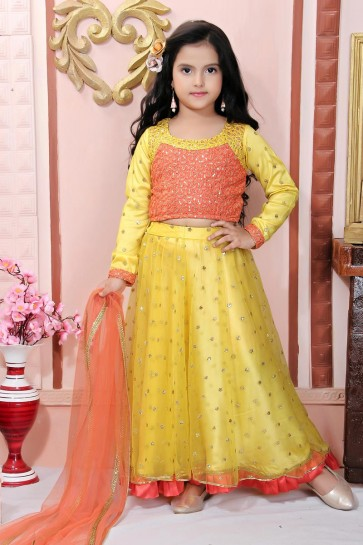 Net Fabric Designer Yellow Embroidered Lehenga Choli With Net Dupatta