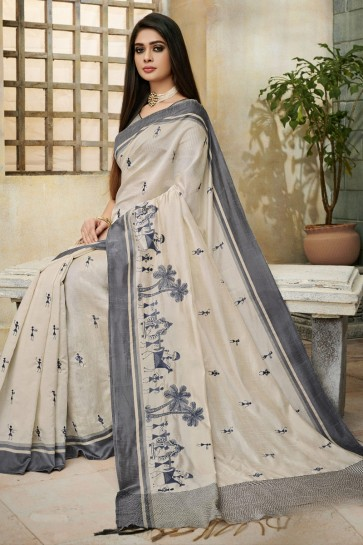 Stunning Cream Cotton And Silk Fabric Designer Printed And Embroidery Work Saree And Blouse