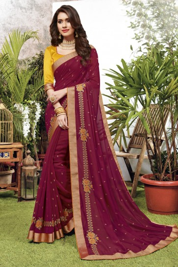 Georgette Satin Fabric Maroon Embroidered Designer Saree And Blouse