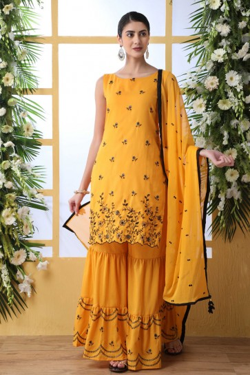 Cotton Designer Mustard Embroidered And Thread Work Plazzo Suit With Nazmin Dupatta