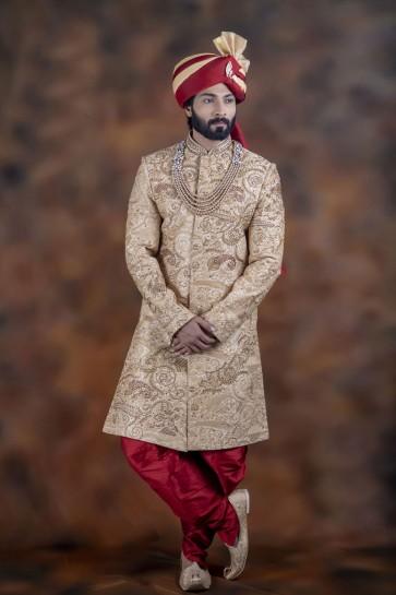 Pretty Golden Jacquard Fabric Sherwani