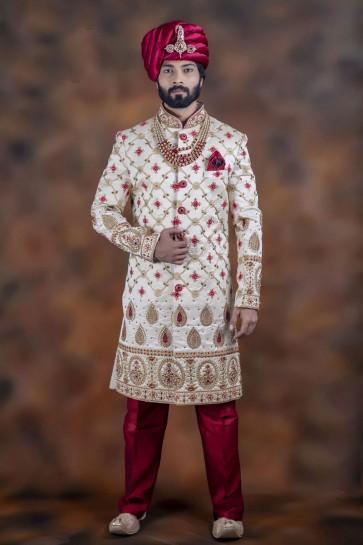 Optimum White Jacquard Fabric Sherwani