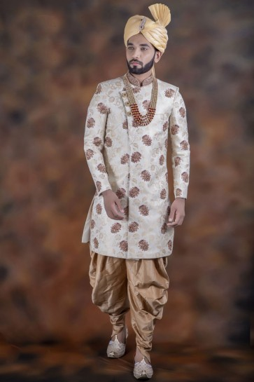 Classic White Jacquard Fabric Sherwani