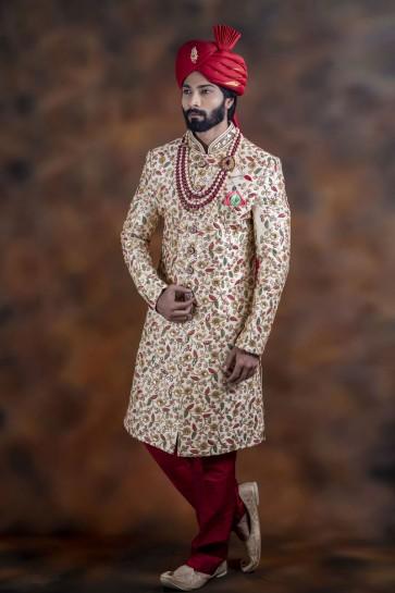 Beautiful Multicolor Jacquard Fabric Sherwani
