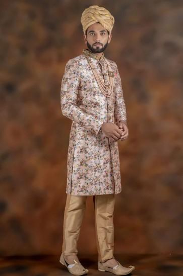 Gorgeous Baby Pink Jacquard Fabric Sherwani