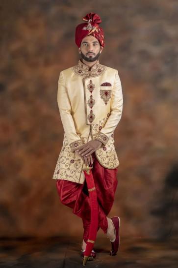 Stylish Cream Jacquard Fabric Wear Sherwani