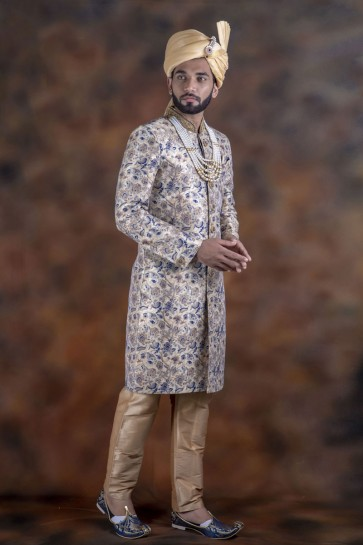 Supreme Grey Jacquard Fabric Sherwani