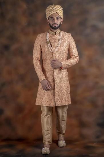 Graceful Peach Jacquard Fabric Sherwani