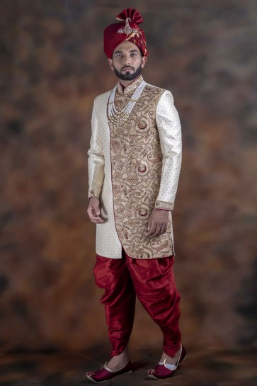 Lovely Off White Jacquard Fabric Sherwani